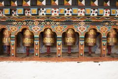 Prayer wheels in Bhutan Royalty Free Stock Photography