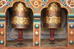 Prayer wheels in Bhutan Stock Images