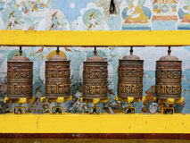 Prayer wheels at Bodhnath stupa in Kathmandu Stock Images