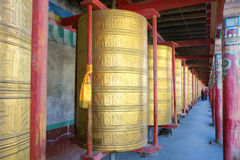 Prayer wheels. The close-up of prayer wheels in Tagong Temple in Sichuan, China Stock Images