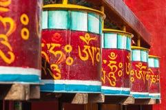 Prayer wheels in front of a temple. Varanasi, India Royalty Free Stock Image