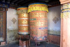 Prayer wheels at the Jampey Lhakhang temple, Chhoekhor, Bhutan Royalty Free Stock Image