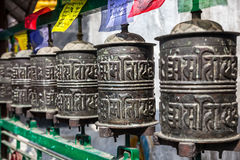 Prayer wheels at Kathesimbhu stupa Royalty Free Stock Image