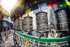 Prayer wheels at Kathesimbhu stupa Stock Images