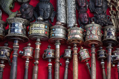 Prayer wheels at Kathmandu market Royalty Free Stock Images