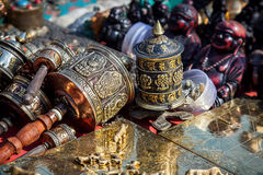 Prayer wheels at Kathmandu market Royalty Free Stock Photography