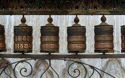 Prayer wheels in Kathmandu Stock Image