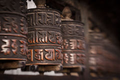 Prayer wheels in Nepal Stock Image