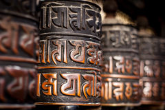 Prayer wheels in Nepal Stock Photos
