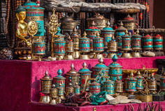 Prayer wheels at Nepali market royalty free stock images