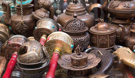 Prayer Wheels and other things at the souvenir Royalty Free Stock Photography