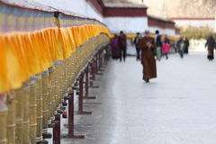 Prayer wheels of Potala Palace Stock Photography