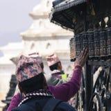 Prayer Wheels at Swayambhu, Kathmandu, Nepal Stock Image