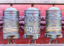 Prayer Wheels at Swayambhunath Stupa Stock Photo