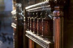Prayer wheels at Swayambhunath Temple Stock Photos