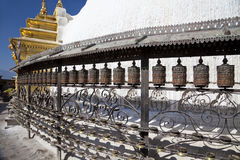 Prayer Wheels, Swayambunath, Kathmandu, Nepal Stock Photos