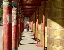 Prayer wheels. In Tagong monastery, China Royalty Free Stock Photography