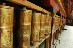 Prayer Wheels in Tibet Stock Photo