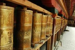 Prayer Wheels in Tibet stock photo