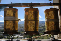 Prayer wheels in Tibet Royalty Free Stock Image
