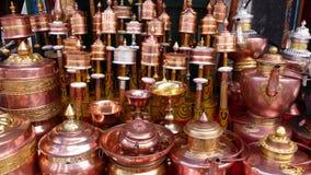 Prayer wheels in Tibet Stock Images