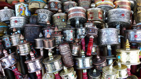 Prayer Wheels in Tibet Stock Image