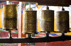 Prayer wheels, Tibetan monastery Stock Photo