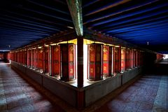 Prayer wheels tunnels Stock Image