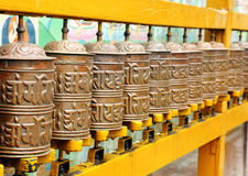 Prayer wheels on the walls of Swayambhunath Stupa, Kathmandu, Nepal Royalty Free Stock Image