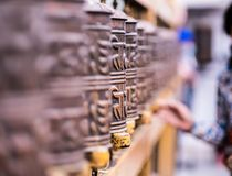 Prayer wheels in Boudhanath Stupa in Kathmandu, Nepal Royalty Free Stock Image