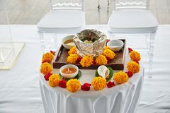Indian wedding prayer items for thread ceremony, pooja Puja in the morning. The prayer and worship items for thread ceremony, pooja Puja of the Indian wedding Stock Image