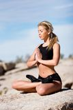 Prayer yoga meditation position Royalty Free Stock Photography