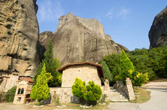 Prayerful place of hermit monks in the Greek Meteors Stock Images
