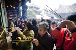 Prayers. Asian people pray in the temple. Photo took in Taiwan Royalty Free Stock Image
