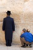Prayers. A religious orthodox Jews prays at the wailing wall. Jerusalem, Israel Royalty Free Stock Photo