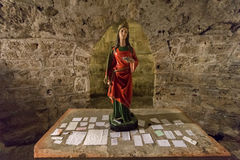 Prayers on Altar in St Lucy`s Crypt. Prayers and blessings lie on the altar in the crypt of St Lucy, underneath the Cathedral of Saint Domnius in the Diocletian` stock image