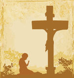 Prayers by the cross, grunge background Royalty Free Stock Photo