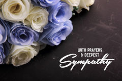 With Prayers & Deepest Sympathy. With Prayers & Deepest Sympathy. A sympathetic letter design for someone in despair Stock Photos