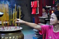 Prayers In A Pagoda. Vietnam Stock Photo