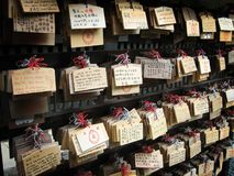 Prayers near a japanese shrine Stock Image