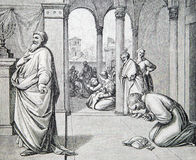 The Prayers of Pharisees and Tax Collectors lithography. SEBECHLEBY, SLOVAKIA - JULY 27, 2015: The Prayers of Pharisees and Tax Collectors lithography by unknown stock photography