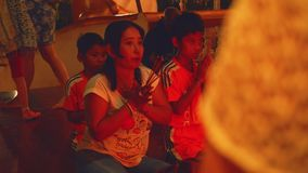 Prayers in Preah Angchek shrine. In Cambodia stock video footage