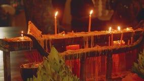 Prayers in Preah Angchek shrine. In Cambodia stock video