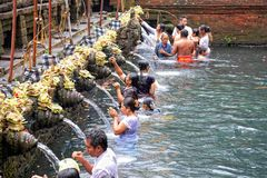 Prayers at Puru Tirtha Empul temple Royalty Free Stock Image