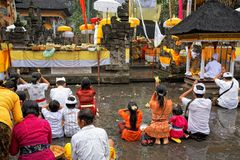 Prayers at Puru Tirtha Empul temple, Bali Royalty Free Stock Image