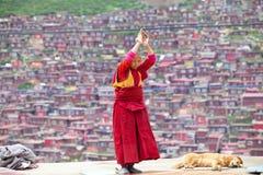 Prayers in the Sertar buddhish college Stock Photo