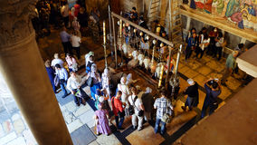 Prayers at the Stone of Anointing in Jerusalem Stock Photography