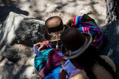 Prayers taking place in during the feast day of the Lady Virgin of Copacabana, Bolivia royalty free stock photos