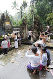 Prayers at Tirtha Empul, Bali, Indonesia. Image of devotees offering prayers and going through a hindu ritual at a religious bathing pool located within a temple royalty free stock image
