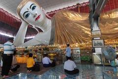 Prayers to the Buddha of Chauk Htat Gyi Pagoda Royalty Free Stock Image